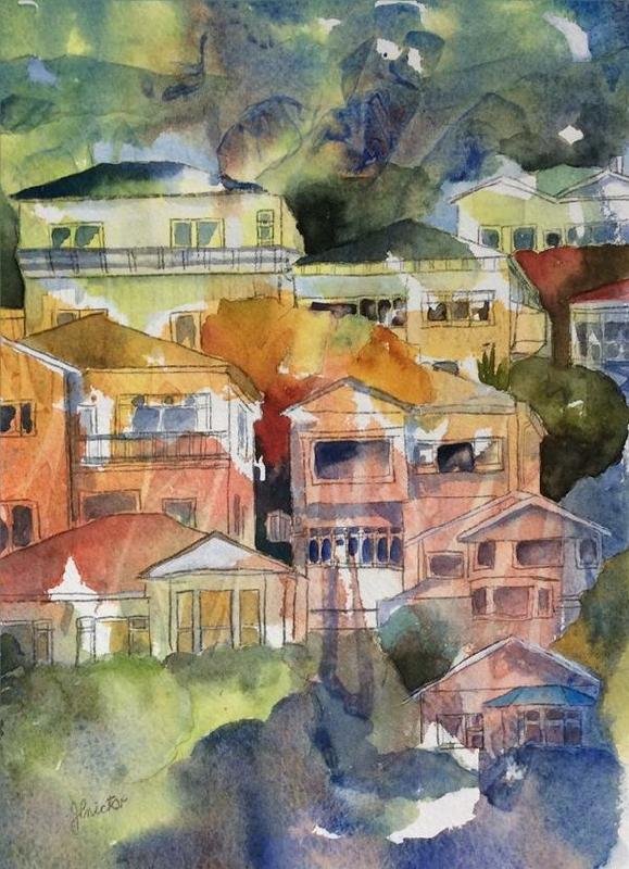 """Evening Shadows, Wellington"" by Judy Prictor - Watercolour New Zealand Merit Award"